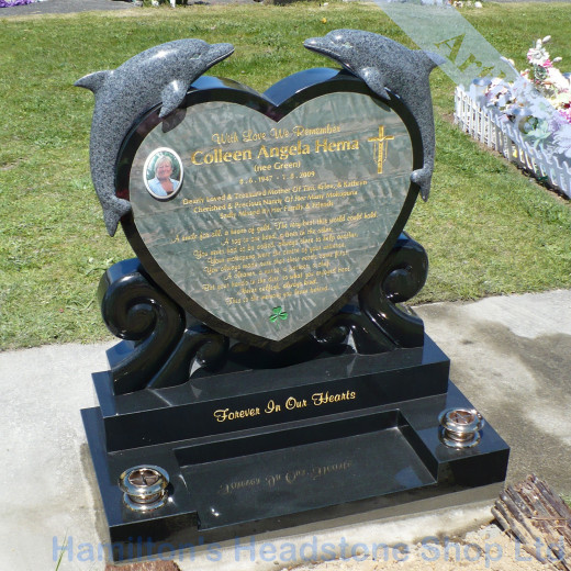 Dolphin Heart Headstone