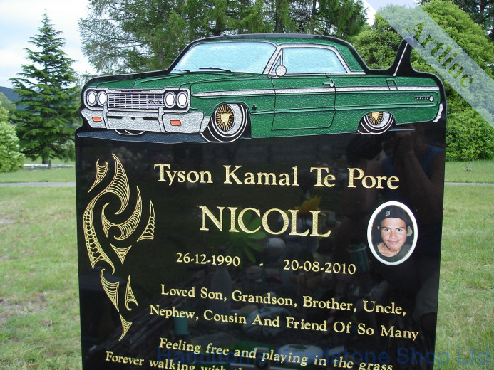 Engraved Chevy Impala Headstone