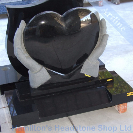 Heart Hands Headstone