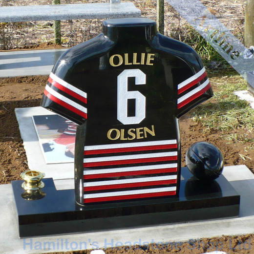 carved rugby jersey headstone